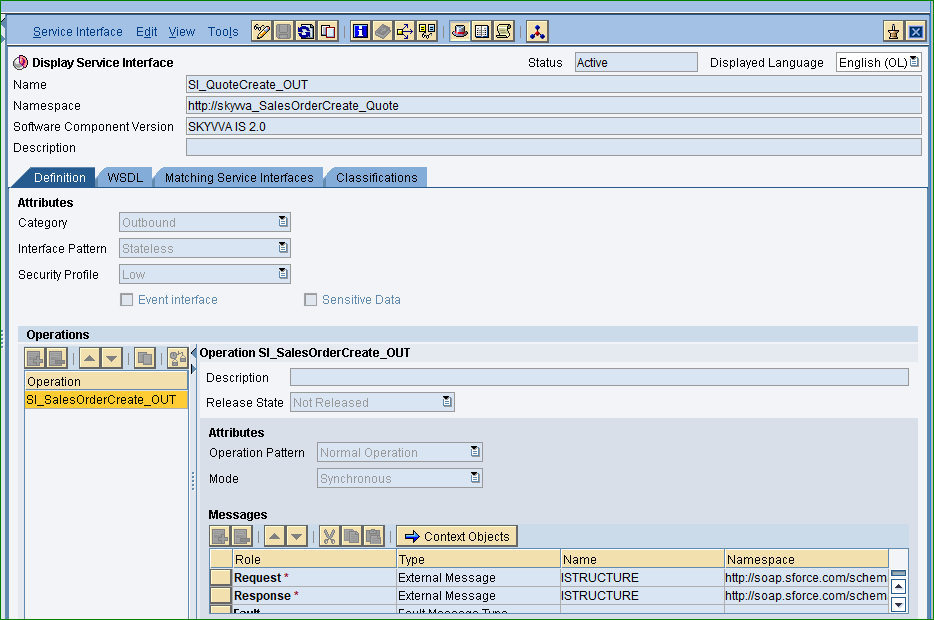 Service Interface with Request and Response